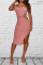 Pink Sexy Solid Hollowed Out One Shoulder Pencil Skirt Dresses