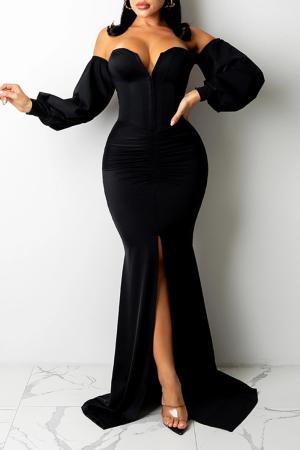 Black Sexy Solid Split Joint Strapless Irregular Dress Dresses