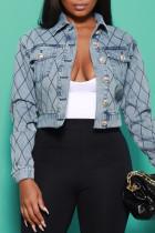Baby Blue Fashion Casual Patchwork Cardigan Turndown Collar Long Sleeve Denim Jacket
