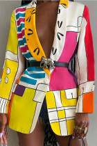 Multicolor Street Print Split Joint Turn-back Collar Outerwear