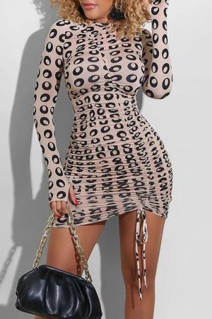 Light Pink Sexy Print Split Joint Draw String Fold O Neck Pencil Skirt Dresses