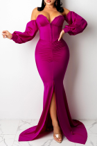 Rose Red Sexy Solid Split Joint Strapless Irregular Dress Dresses