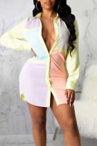 Light Purple Casual Color Lump Print Split Joint Buckle Turndown Collar Shirt Dress Dresses