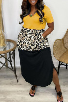 Yellow Casual Print Split Joint Asymmetrical V Neck Short Sleeve Dress Dresses