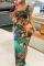 Black Green Sexy Print Split Joint U Neck Pencil Skirt Dresses