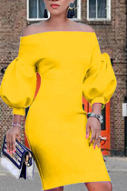 Yellow Sexy Solid Split Joint Off the Shoulder Pencil Skirt Dresses