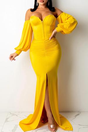 Yellow Sexy Solid Split Joint Strapless Irregular Dress Dresses