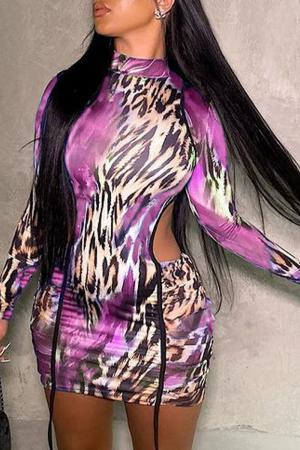 Purple Sexy Print Hollowed Out Half A Turtleneck Pencil Skirt Dresses