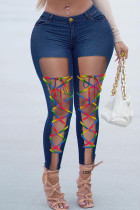 Deep Blue Fashion Casual Solid Ripped Bandage High Waist Skinny Jeans