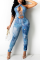 Light Blue Sexy Print Hollowed Out Cold Shoulder Skinny Jumpsuits