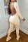 Khaki Sexy Solid Backless Square Collar Skinny Jumpsuits