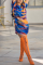 Tibetan Blue Sexy Print Split Joint O Neck Straight Dresses