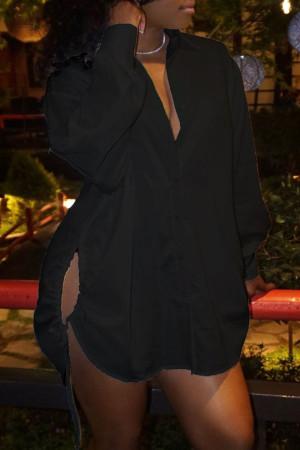 Black Fashion Casual Solid Bandage Hollowed Out Turndown Collar Shirt Dress