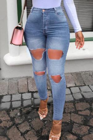 Medium Blue Fashion Casual Solid Ripped High Waist Skinny Jeans