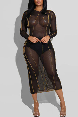 Black Sexy Solid Split Joint See-through O Neck Pencil Skirt Dresses
