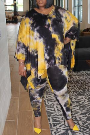 Yellow Fashion Casual Print Tie Dye Asymmetrical V Neck Plus Size Two Pieces