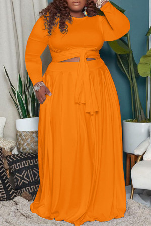 Tangerine Casual Solid Bandage Split Joint O Neck Plus Size Two Pieces