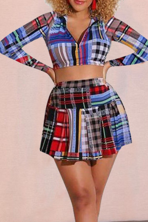 Multicolor Casual Plaid Print Split Joint Zipper Collar Long Sleeve Two Pieces