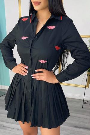 Black Casual Print Split Joint Turndown Collar Cake Skirt Dresses