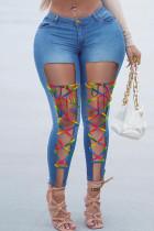 Medium Blue Fashion Casual Solid Ripped Bandage High Waist Skinny Jeans