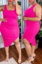 Rose Red Fashion Sexy Plus Size Solid Fold U Neck Vest Dress