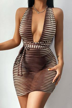Khaki Sexy Striped Print Bandage Split Joint See-through Backless V Neck Pencil Skirt Dresses