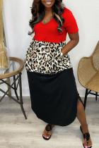 Red Casual Print Split Joint Asymmetrical V Neck Short Sleeve Dress Dresses
