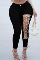 Black Fashion Casual Solid Bandage Hollowed Out High Waist Skinny Jeans