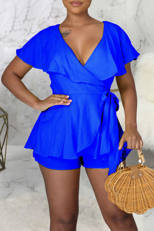 Blue Sexy Solid Bandage Split Joint Backless Flounce V Neck Straight Jumpsuits