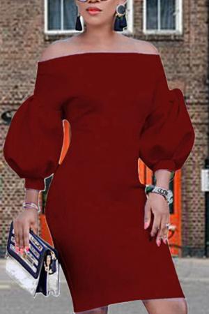 Burgundy Sexy Solid Split Joint Off the Shoulder Pencil Skirt Dresses