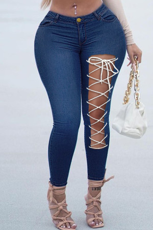 Deep Blue Fashion Casual Solid Bandage Hollowed Out High Waist Skinny Jeans