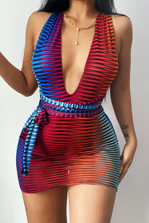 Red Sexy Striped Print Bandage Split Joint See-through Backless V Neck Pencil Skirt Dresses