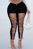 Black Fashion Casual Solid Ripped Bandage High Waist Skinny Jeans