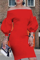 Red Sexy Solid Split Joint Off the Shoulder Pencil Skirt Dresses