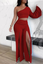 Red Fashion Sexy Backless Slit Oblique Collar Long Sleeve Two Pieces