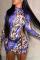 Deep Blue Sexy Print Hollowed Out Half A Turtleneck Pencil Skirt Dresses