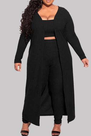 Black Fashion Casual Solid Basic Plus Size Three-piece Set
