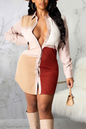 Burgundy Casual Color Lump Print Split Joint Buckle Turndown Collar Shirt Dress Dresses