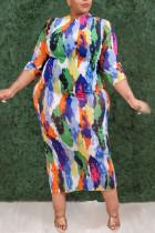 Multi-color Casual Print Split Joint O Neck Straight Plus Size Dresses