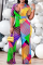 Colour Casual Print Split Joint Turndown Collar Plus Size Jumpsuits