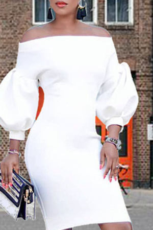 White Sexy Solid Split Joint Off the Shoulder Pencil Skirt Dresses