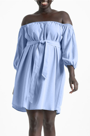 Sky Blue Fashion Casual Solid Backless Off the Shoulder Dresses