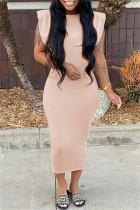 Apricot Pink Fashion Casual Solid Basic O Neck Sleeveless Dress