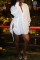 White Fashion Casual Solid Bandage Hollowed Out Turndown Collar Shirt Dress