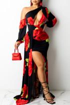 Black Fashion Sexy Print Bandage Backless Oblique Collar Irregular Dress