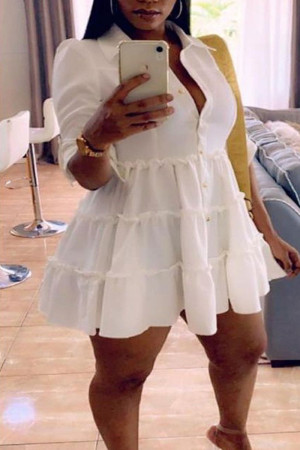 White Casual Solid Split Joint Buckle Fold Turndown Collar A Line Plus Size Dresses