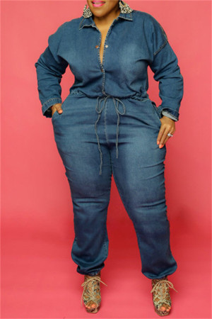 Dark Blue Fashion Casual Solid Hollowed Out Split Joint Chains Turndown Collar Plus Size Jumpsuits