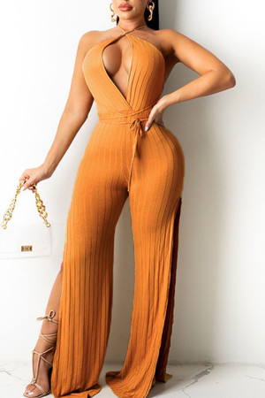 Brown Sexy Solid Split Joint Backless Slit V Neck Straight Jumpsuits