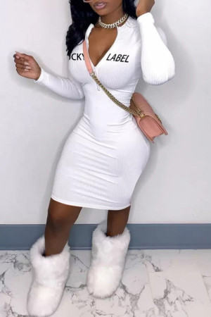 White Fashion Casual Letter Embroidered Zipper Collar Long Sleeve Dresses