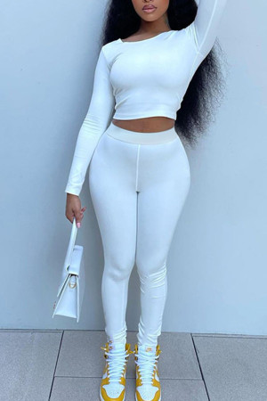 White Casual Solid Split Joint Frenulum Backless O Neck Long Sleeve Two Pieces